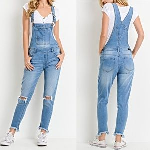 NWT C'EST TOI The Mindy Destroyed Overalls
